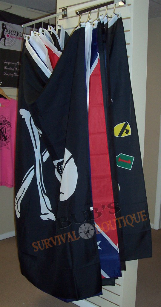Flags of various kinds and sizes.